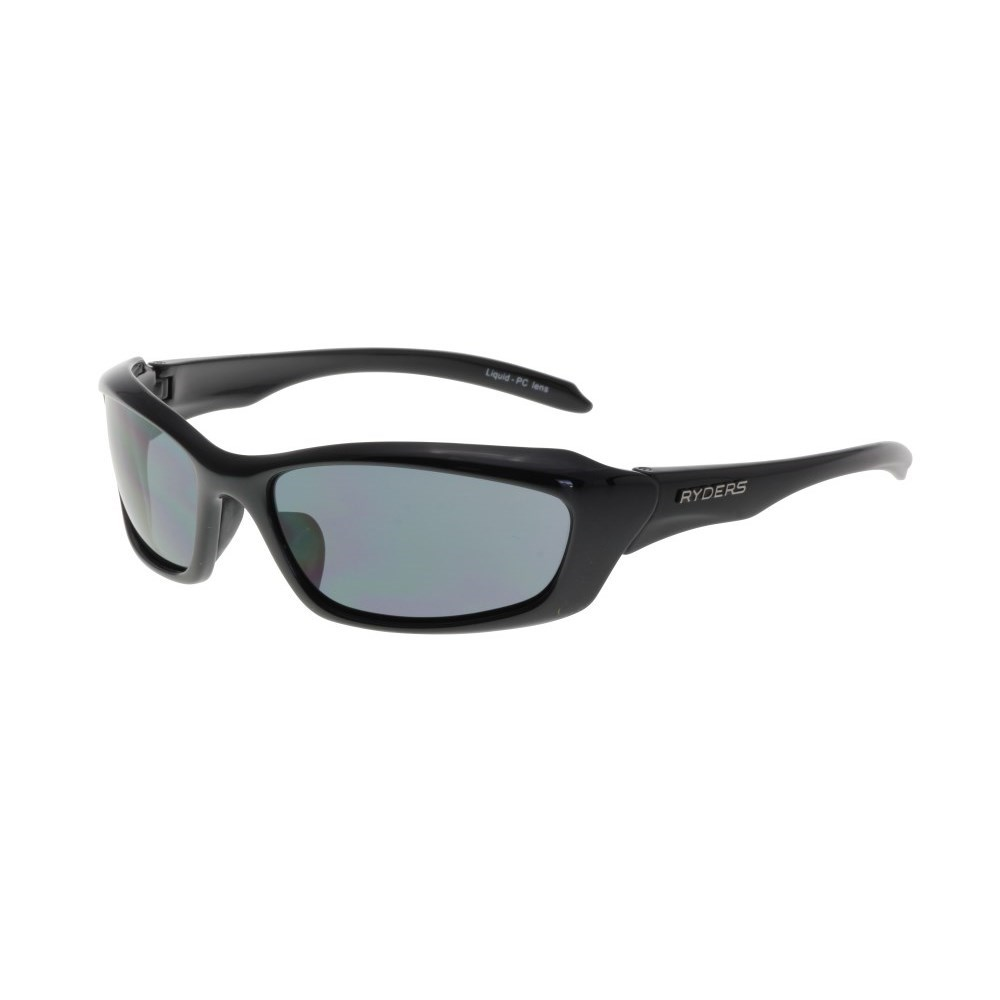 ryders liquid sunglasses shiny black smoke